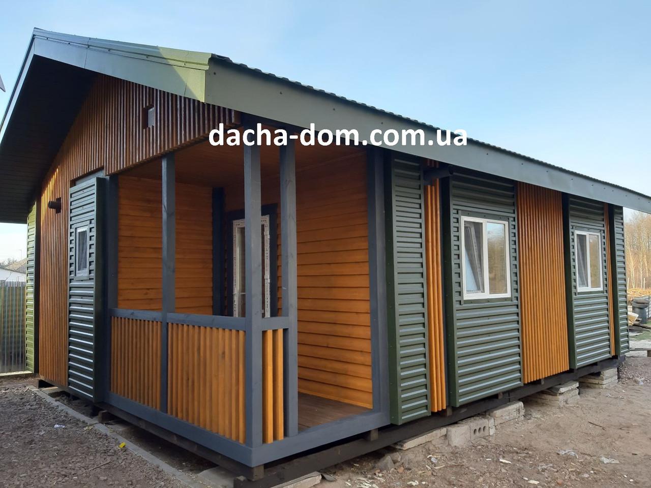 Дачный каркасный дом 6 на 8 - комбинированный.