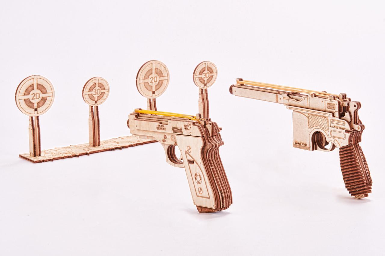 Собранная модель конструктора Набор пистолетов. Сувенир Тир Wood trick. Гарантия качества (опт, дропшиппинг)