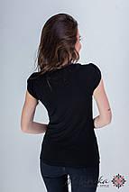 Женская вышиванка черного цвета с глубоким декольте «Рюшка с цветами», фото 2