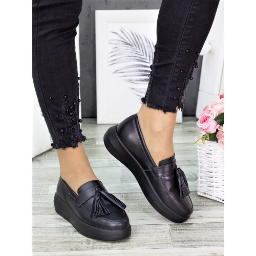 Женские туфли лоферы черная кожа 7279-28