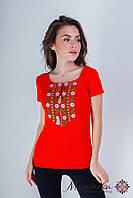 Яскрава жіноча вишита футболка з широкою горловиною у червоному «Експресія», фото 1