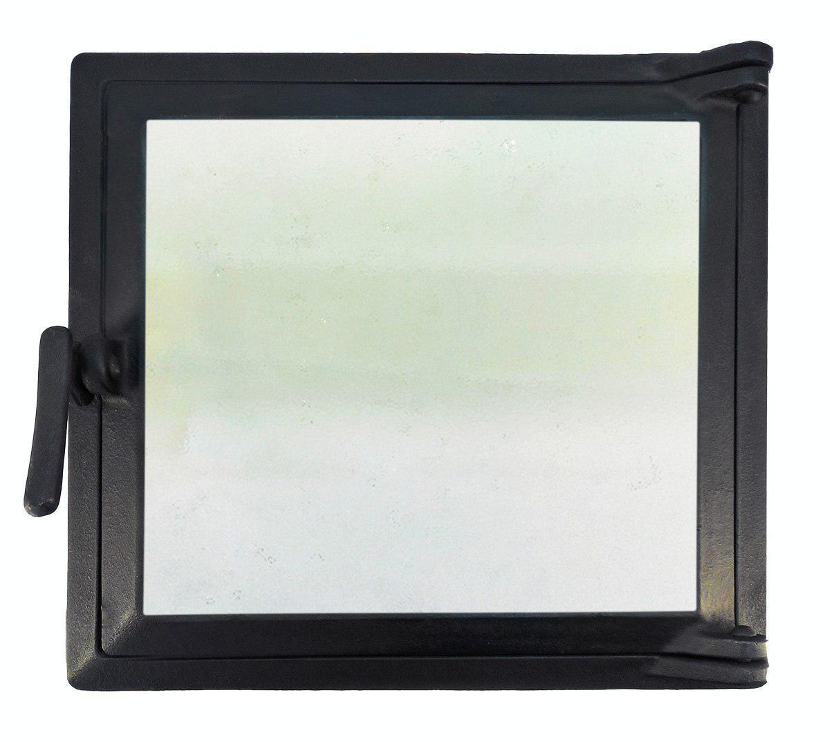 Топочная дверца для печи и камина со стеклом 290х320 мм, чугунная печная, каминная дверка 102864