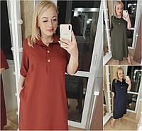 Р 50-56 Однотонне плаття - сорочка, нижче коліна Батал 21226, фото 1