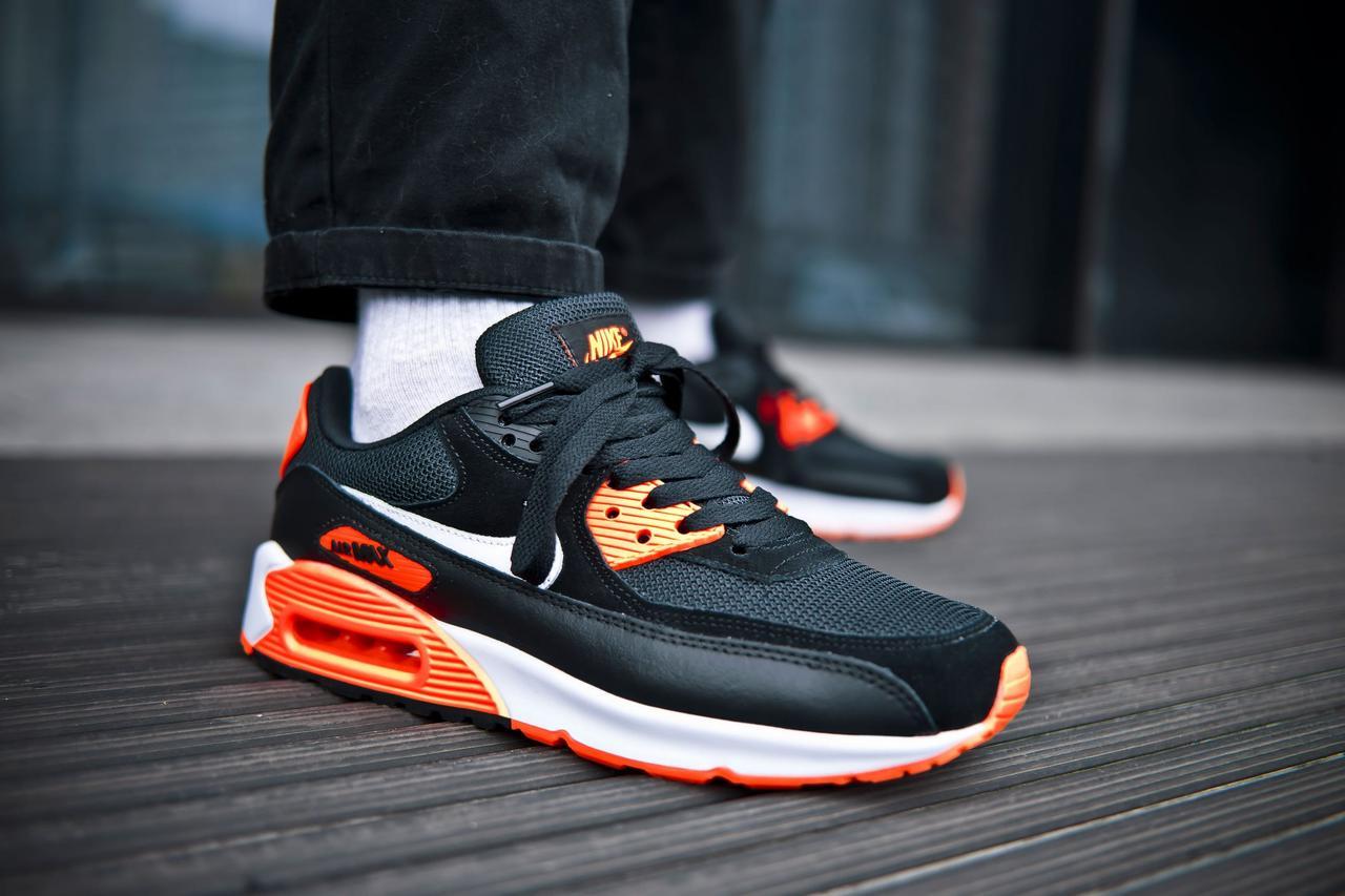 Кроссовки мужские Nike Air Max 90 Black Orange Найк Аир Макс 90  Реплика