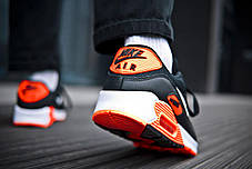 Кроссовки мужские Nike Air Max 90 Black Orange Найк Аир Макс 90  Реплика, фото 3