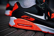 Кросівки чоловічі Найк Аір Макс 90 Black Orange всередині повітряна капсула Air Max Репліка, фото 2