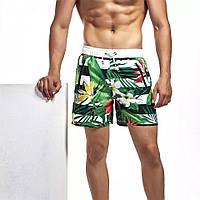 Шорты мужские купальные с подкладкой и карманами, с растительным принтом, фото 1