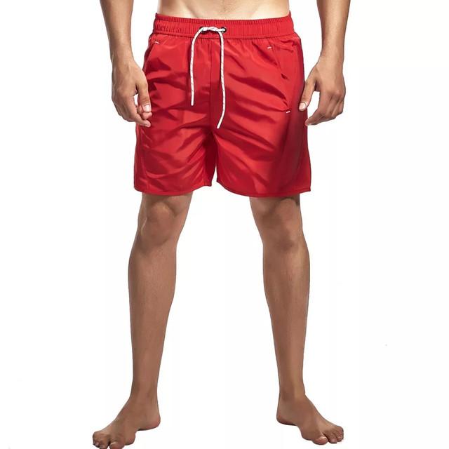 Шорты мужские купальные с подкладкой и карманами, плащевка, красные