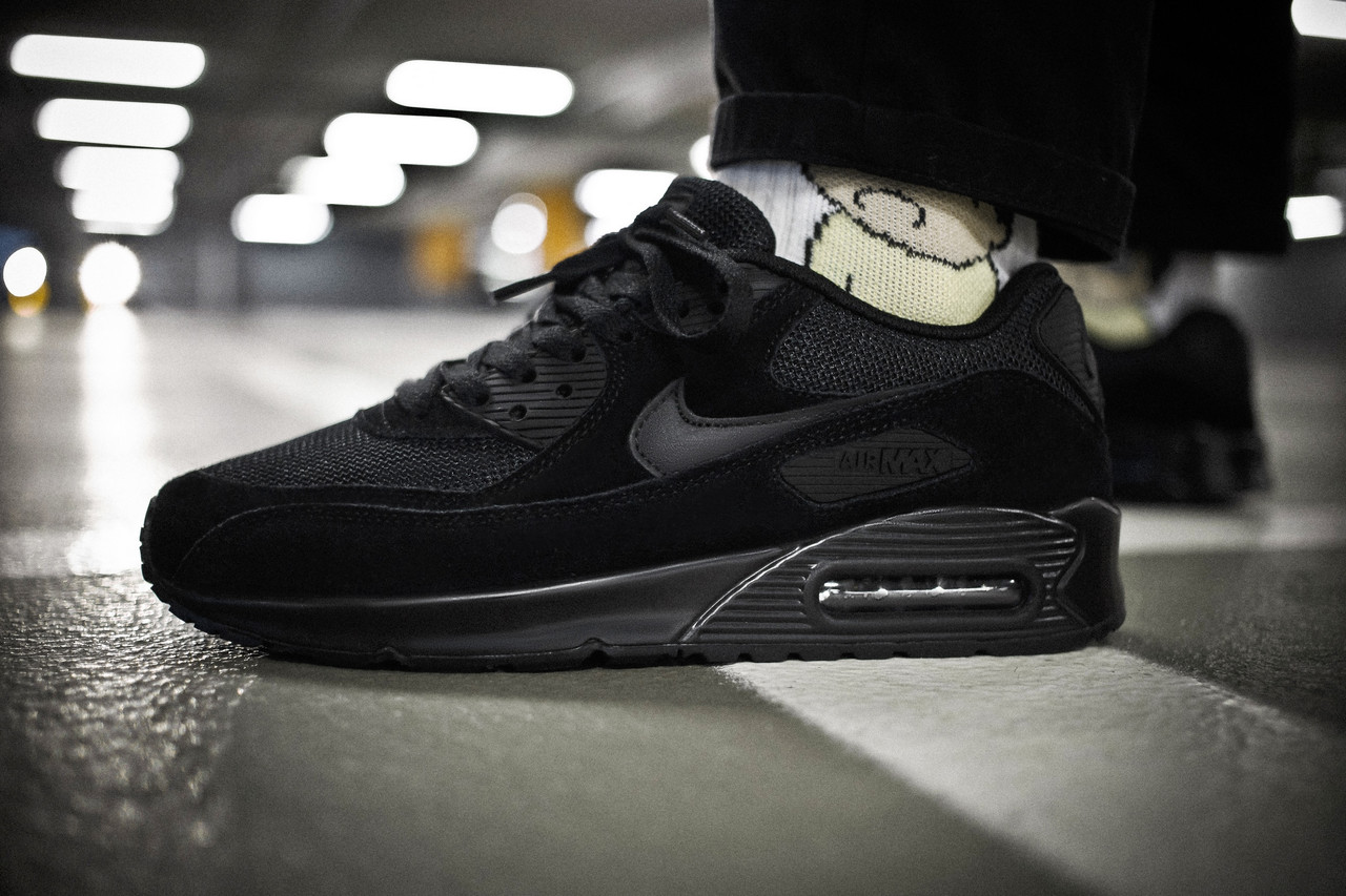 Мужские кроссовки Nike Air Max 90 Triple Black ( Реплика ) Остался 45
