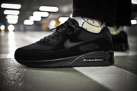 Мужские кроссовки Nike Air Max 90 Triple Black ( Реплика ) Остался 45, фото 2