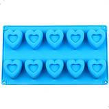 Силиконовая форма  Сердечки 10 шт, фото 3