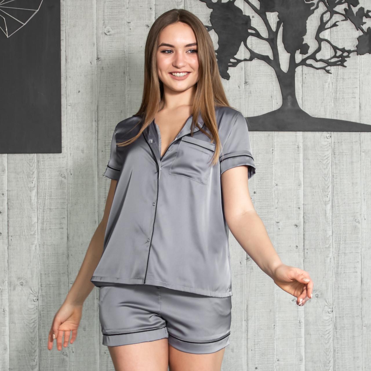 """Женская пижама с кантом """"Графит"""" Шелк, шорты и рубашка короткий рукав"""
