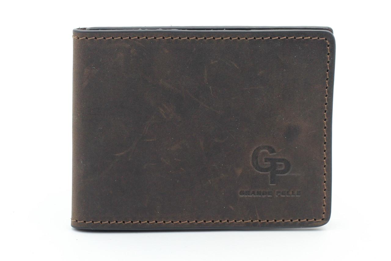 Кожаный кардхолдер коричневого цвета с отсеком для купюр Grande Pelle (15502)