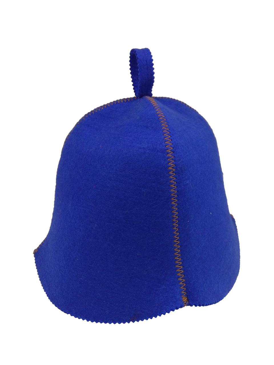 Шапка синя без вишивки, штучний кольоровий фетр, Saunapro