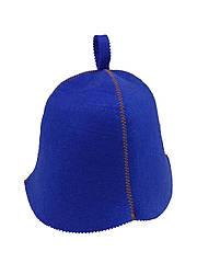 Шапка синяя без вышивки, искусственный цветной фетр,  Saunapro