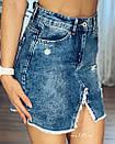 Джинсовая юбка с ассиметричным швом джинс тянется, фото 2