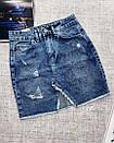 Джинсовая юбка с ассиметричным швом джинс тянется, фото 3