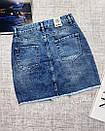 Джинсовая юбка с ассиметричным швом джинс тянется, фото 4