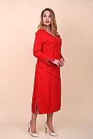 Женское платье красного цвета батал. Размеры 52, 54, 56, 58. Хмельницкий