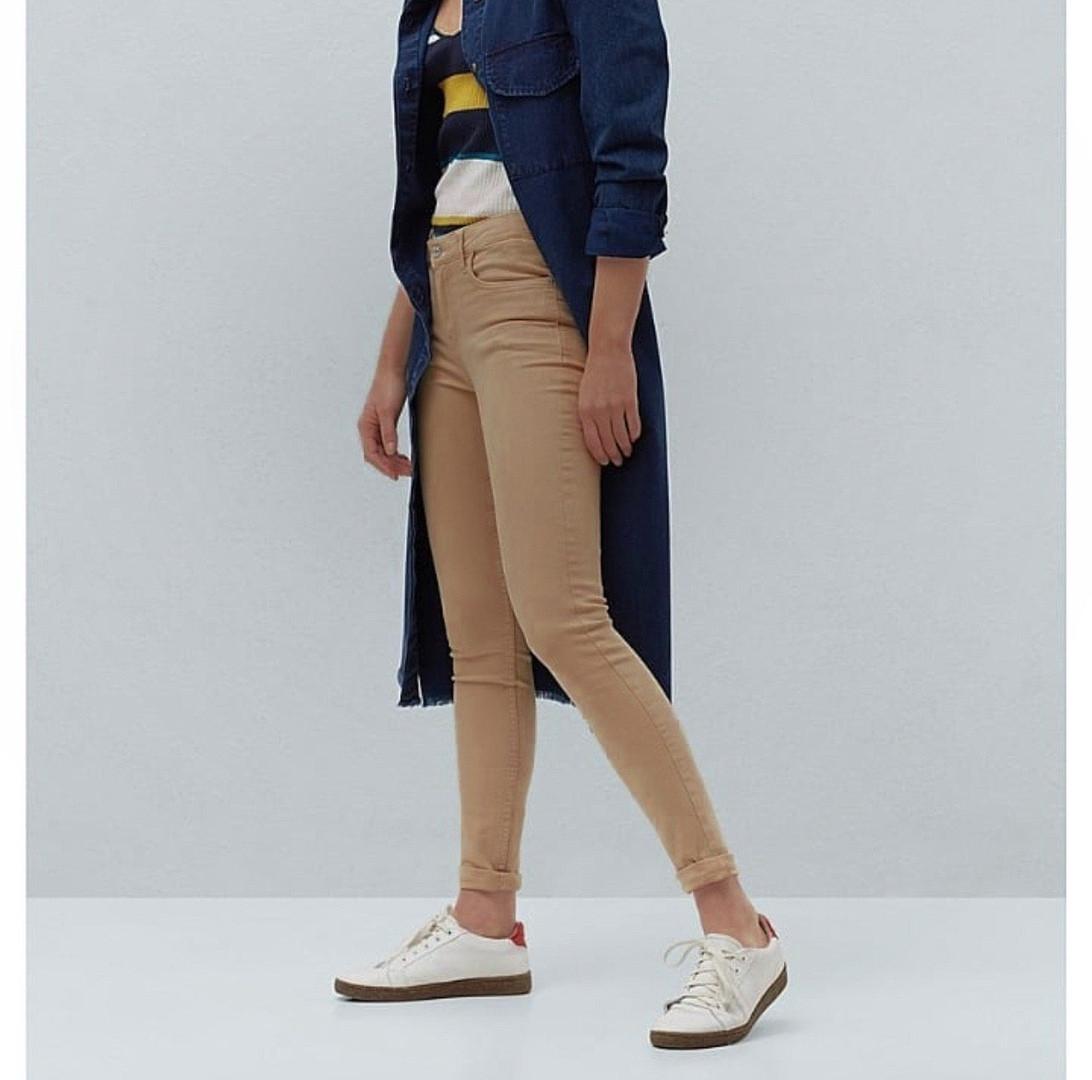 Джинсы женские скинни skinny с высокой посадкой цвета кэмел