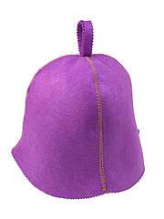 Шапка фиолетовая без вышивки, искусственный цветной фетр,  Saunapro