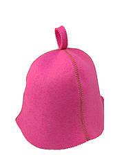 Шапка розовая без вышивки, искусственный цветной фетр,  Saunapro