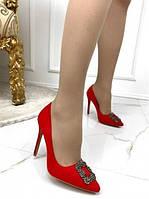 Женские замшевые туфли на шпильке в стиле Маноло, красные, код FN-26464