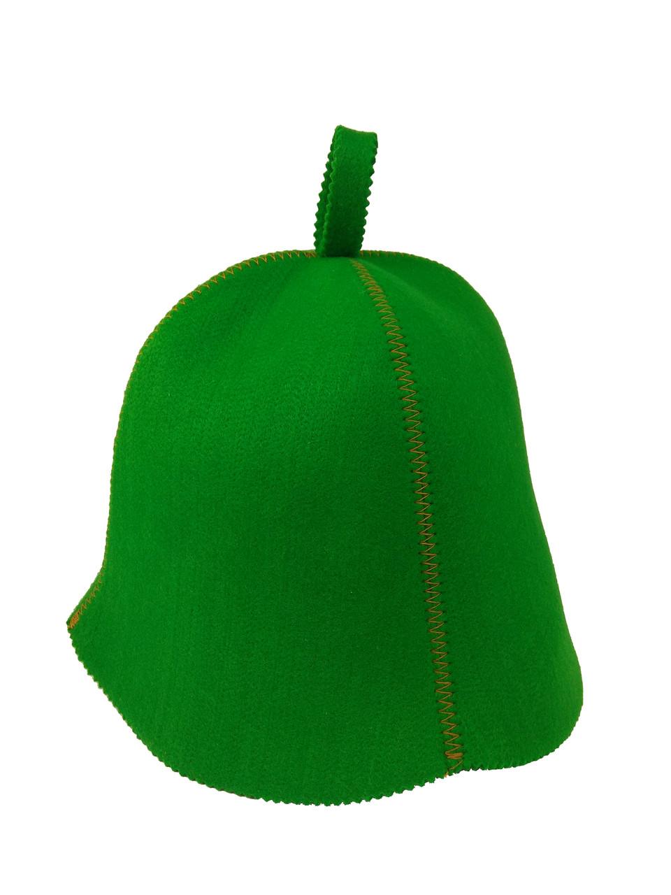 Шапка зелена без вишивки, штучний кольоровий фетр, Saunapro