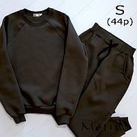 Женский спортивный костюм цвета хаки, размер 44 (S) - свитшот и штаны, материал - турецкая трехнить