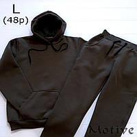 Женский спортивный костюм цвета хаки, размер 48 (L) - худи и штаны, материал - турецкая трехнить