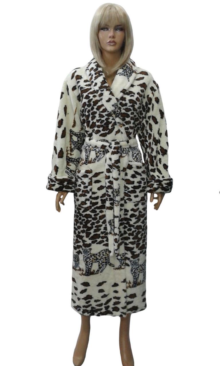 Халат женский пушистый (леопард) Polar.
