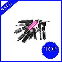 Фен стайлер для волос, 10 в 1 профессиональный, GEMEI GM-4835, щетка, расческа со сменными насадками