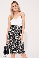 Черно-белая юбка-карандаш из экокожи с леопардовым принтом