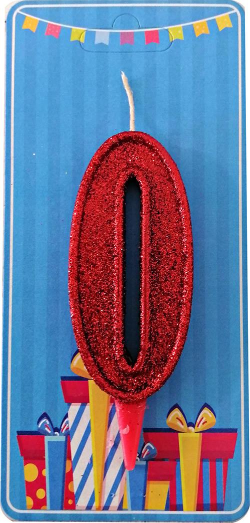Свеча-цифра 0 Красный блеск