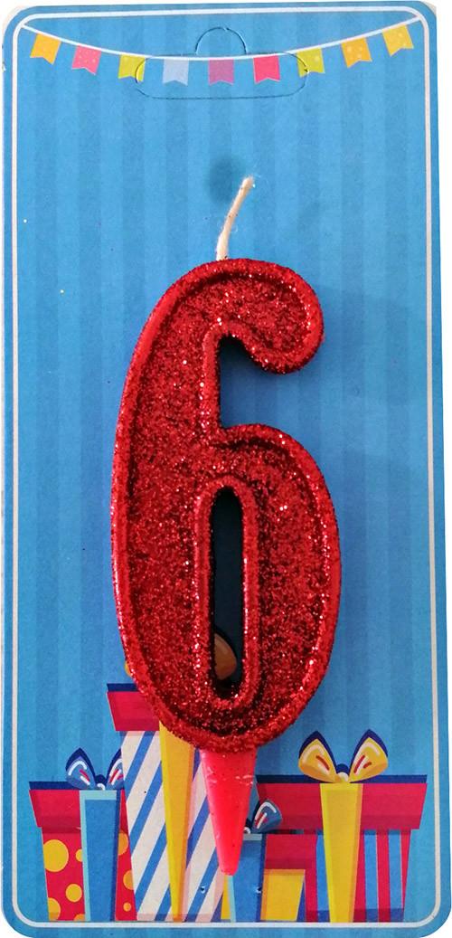 Свеча-цифра 6 Красный блеск