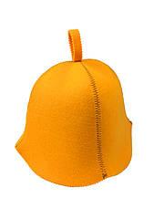Шапка оранжевая без вышивки, искусственный цветной фетр,  Saunapro