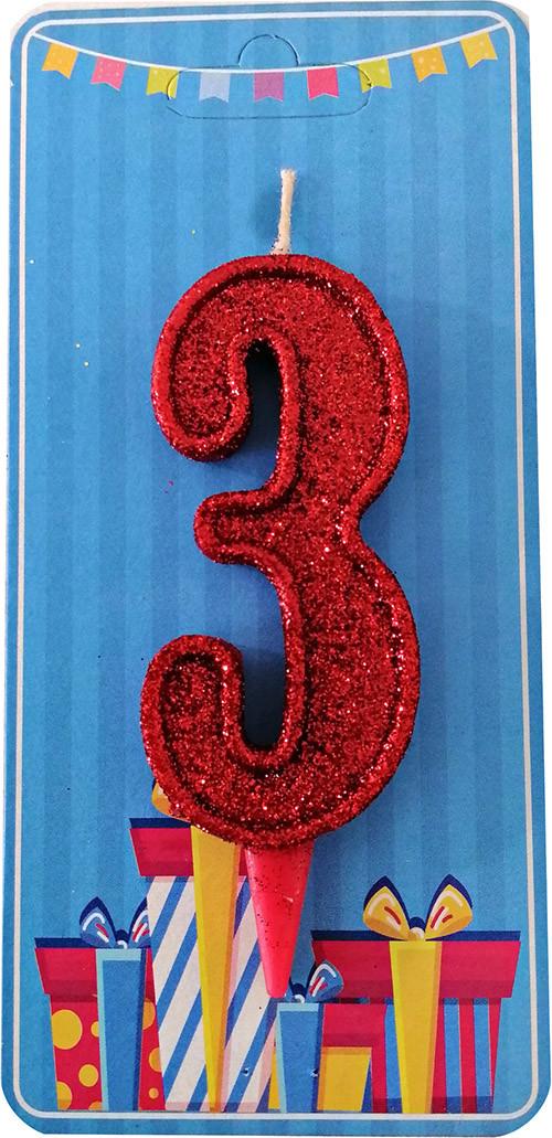 Свеча-цифра 3 Красный блеск