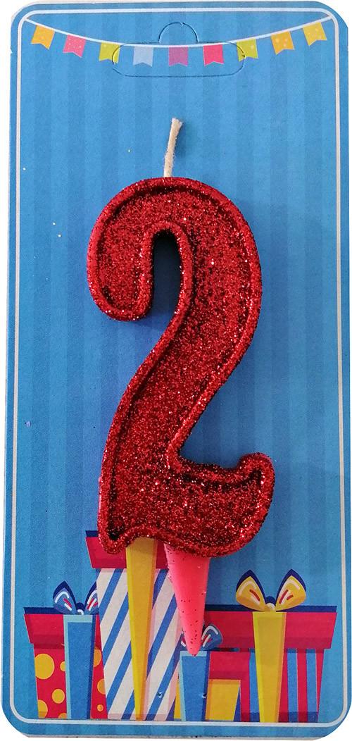 Свеча-цифра 2 Красный блеск