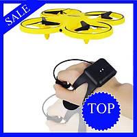 Квадрокоптер дрон Tracker Drone управление жестами руки / ручной дрон / управляется перчаткой часами