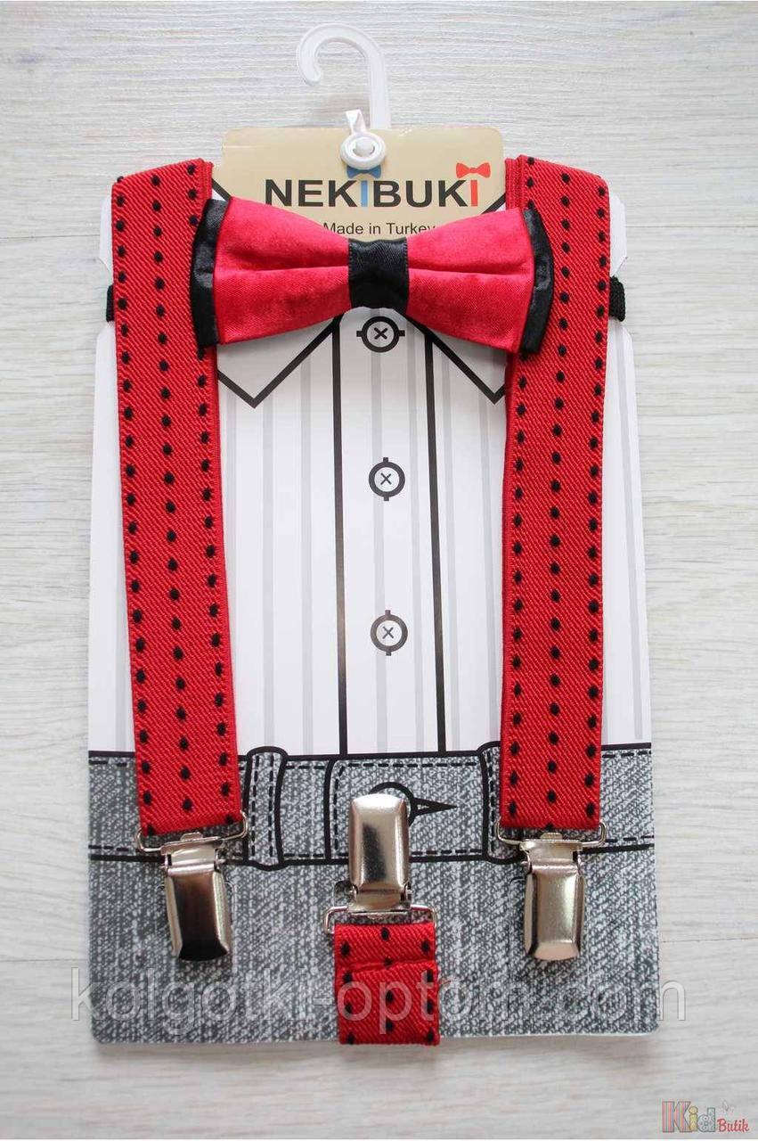 """ОПТОМ Бабочка с подтяжками красно-черная """"Горошины"""" для мальчика Nekibuki 2125000661599"""