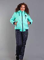 Супер теплый зимний спортивный костюм  на синтепоне и на меху больших размеров 48-58 бирюзовый