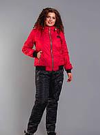 Супер теплый зимний спортивный костюм  на синтепоне и на меху больших размеров 48-58 красный