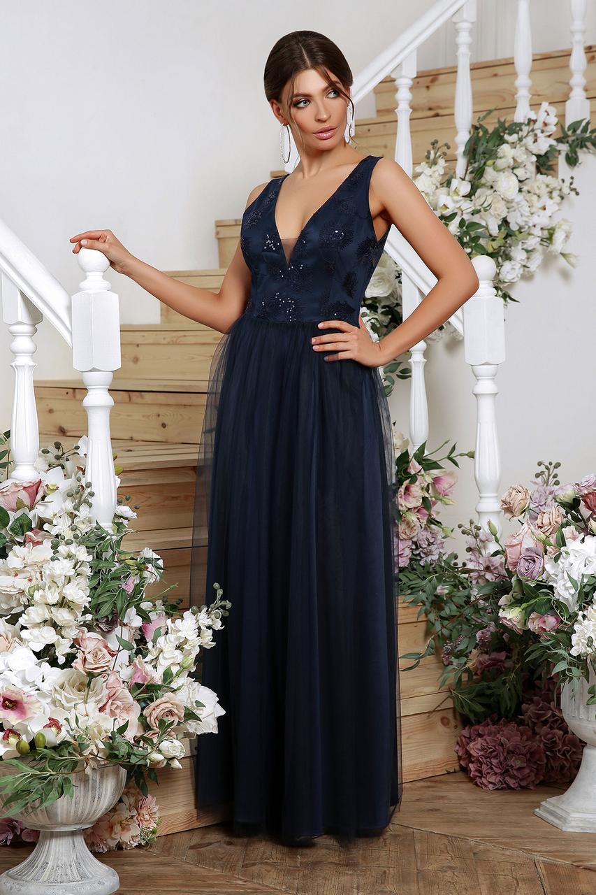 Нарядное платье в пол синее Вайнона