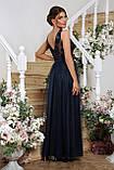 Нарядное платье в пол синее Вайнона, фото 4