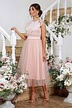 Платье коктейльное миди персиковое Джуди, фото 2