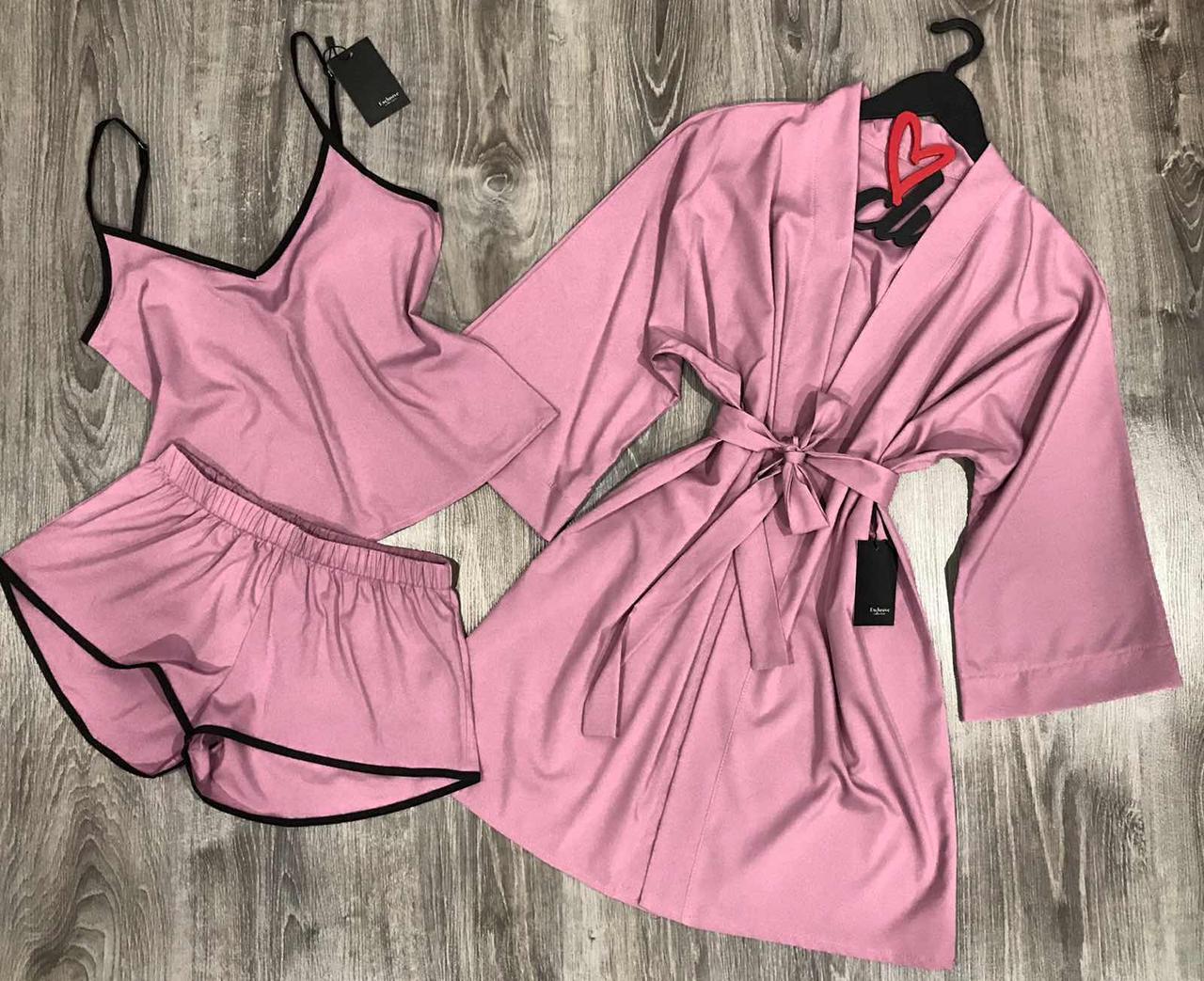 Стильный комплект тройка халат и пижама(майка+шорты).