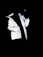 Трендовая бежевая курточка в стиле ienki-ienki приталенная поясом из рефлекторной ткани