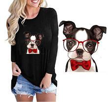Термонаклейка для одежды Мопс в очках