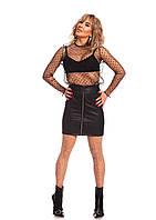 Стильная женская юбка из кожи на молнии.