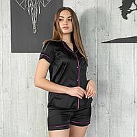 """Женская пижама с кантом """"Чёрная"""" Шелк, шорты и рубашка короткий рукав"""
